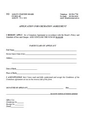 Application for Cremation Agreement